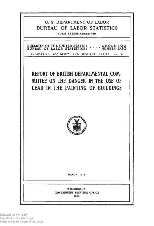 Lead Poisoning Report Cover 1916